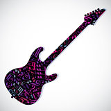 Bright vector bass guitar filled with musical notes, decorative