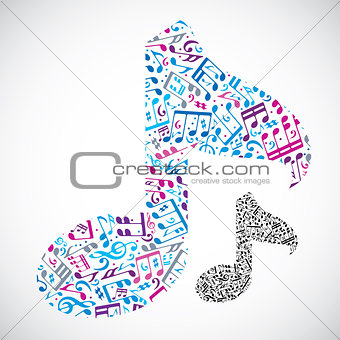 Bright vector light musical note isolated on white background, d