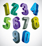 3d numbers set in blue and green colors made with round shapes.