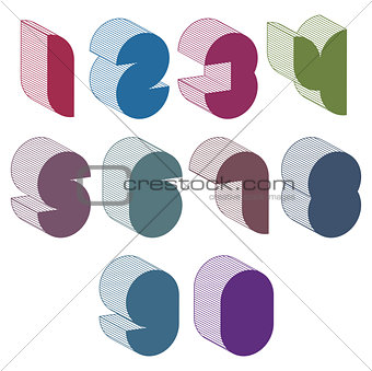 3d futuristic numbers set.
