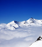 Mountains in clouds at nice day