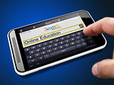 Online Education in Search String on Smartphone.