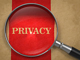 Privacy through Magnifying Glass on Old Paper.