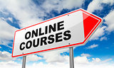 Online Courses on Red Road Sign.