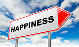 Happiness on Red Road Sign.