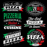 vector set of badges with inscriptions for the pizza