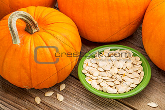 bowl of fresh pumpkin seeds