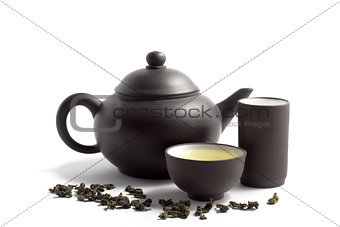 green tea and teapot