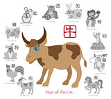 Chinese New Year Ox Color with Twelve Zodiacs Illustration