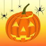 Halloween pumpkin and black spiders on the web