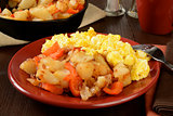 Home fries and scrambled eggs