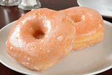 Glazed donuts closeup