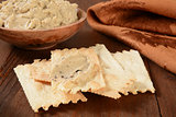 Flatbread crackers with hummus