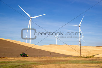 Green Energy Wind Turbines Rolling Agriculture Farmland
