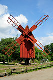 Traditional red wooden windmill
