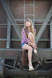 The beautiful girl and railway wagon