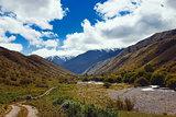 Way to Kaindy Lake in Tien Shan mountain, Kazakhstan.