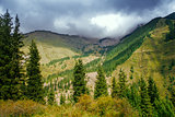 Way to Kaindy Lake in Tien Shan mountain, Kazakhstan.