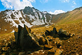 High peak with snow and sharp rocks