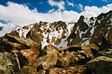 High peak with snow and sharp rocks