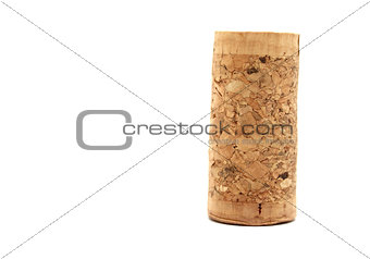 Blank wine cork isolated on white background close
