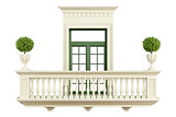 classic balcony balustrade with window