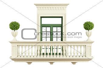classic balcony balustrade with window