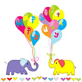 Happy Birthday invitation with cartoon elephants and balloons