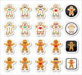 Gingerbread man Christmas icons set