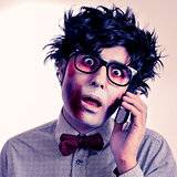 hipster zombie talking on the phone, with a retro effect