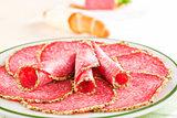 Salami plate close up.