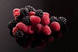 Delicious berries on black.