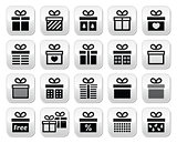 Present, gift box vector buttons set