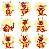 Chinese Dragon Mascot Emoticons Set