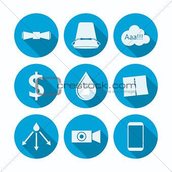 Flat vector icons for Ice Bucket Challenge