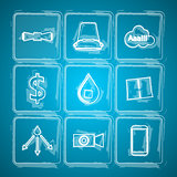Sketch vector icons for Ice Bucket Challenge