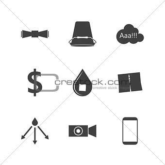 Black silhouette vector icons for Ice Bucket Challenge