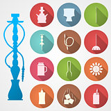 Colored vector icons for hookah and accessories