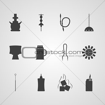 Black vector icons for hookah accessories