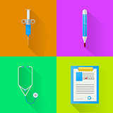 Colored flat vector icons for hospital