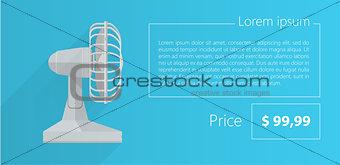 Flat vector minimalist template business design. Gray fan.