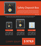Flat vector minimalist template business design. Safe deposit.
