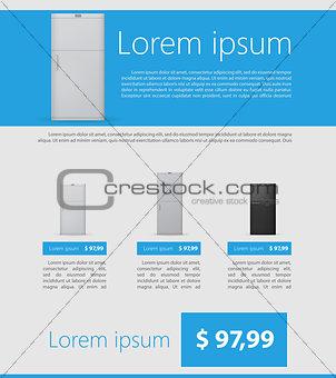 Flat vector minimalist template business design. Fridges.