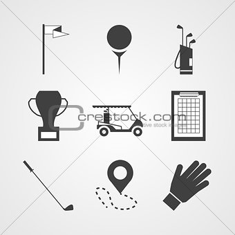 Black vector icons for golf