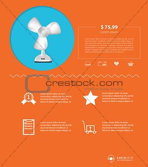 Flat minimalist vector template business design. Ventilator