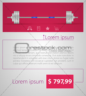 Flat minimalist vector template business design. Barbell.