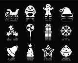 Christmas white icons set on black background