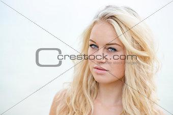 Blond girl bright portrait