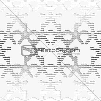 Blue 3d shapes on textured white and black dots pattern
