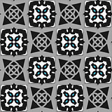 Geometrical Arabian ornament black and white with blue